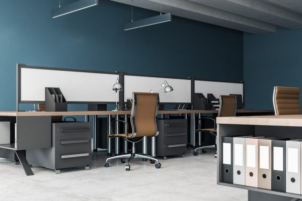 Side view of modern coworking interior